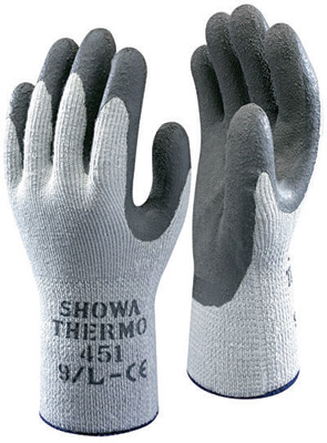 ShowaBest Size 9 Gray ATLAS ThermaFit 451 Seamless Loop-In Terry Cotton Thermal Lined Cold Weather Gloves With Rubber Latex Coated Palms