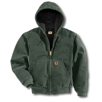 Carhartt 2X Regular Moss Quilted Flannel Lined 12 Ounce Cotton Sandstone Duck Active Jacket