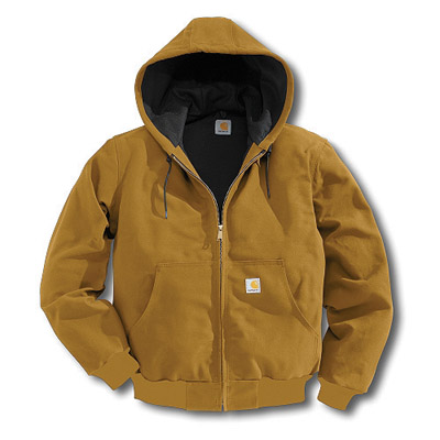 Carhartt 2X Regular Brown Thermal Lined 12 Ounce Cotton Duck Active Jacket With Front Zipper Closure And Attached Hood