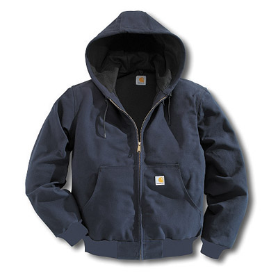 Carhartt 2X Regular Dark Navy Thermal Lined 12 Ounce Cotton Duck Active Jacket With Front Zipper Closure And Attached Hood