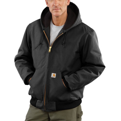 Carhartt 2X Regular Black Quilted-Flannel Lined 12 Ounce Cotton Duck Active Jac Jacket With Front Zipper Closure
