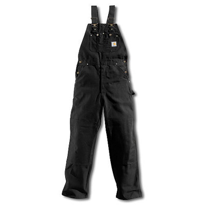 "Carhartt 32"" X 30"" Regular Black Unlined 12 Ounce Cotton Duck Bib Overall"