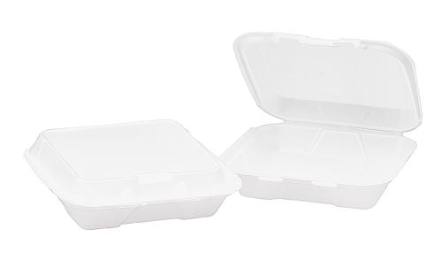 C-9X9X3 1COMP WHITE FOAM HINGED CONTAINER (2/100)
