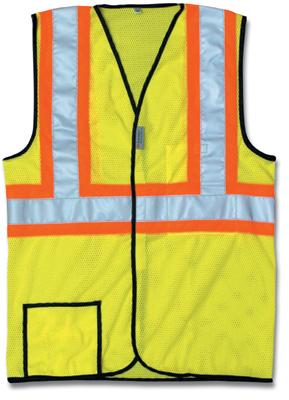 "OccuNomix 2X Hi-Viz Yellow OccuLux Lightweight Polyester And Mesh Class 2 Two-Tone Vest With Front Hook And Loop Closure, 2"" 3M Scotchlite Reflective Tape Striping And 2 Pockets"