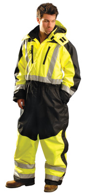 OccuNomix 2X Hi-Viz Yellow And Black ANSI Class 3 Speed Collection Premium Breathable Coveralls With Waterproof Zipper Closure And Stormflap And Hip-To-Boot Leg Zippers With Stormflap