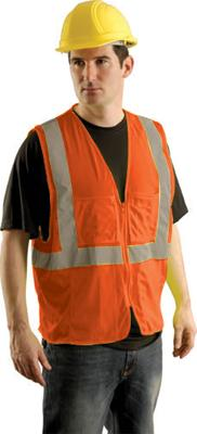 "OccuNomix 2X - 3X Orange OccuLux Lightweight Mesh Class 2 Economy Surveyor's Vest With Zipper Front Closure, 2"" Silver Reflective Tape Striping And 12 Pockets"