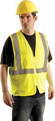 "OccuNomix 2X - 3X Yellow OccuLux Lightweight Mesh Class 2 Economy Surveyor's Vest With Zipper Front Closure, 2"" Silver Reflective Tape Striping And 12 Pockets"
